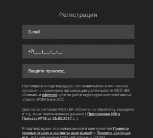 Поле ввода промокода бк олимп