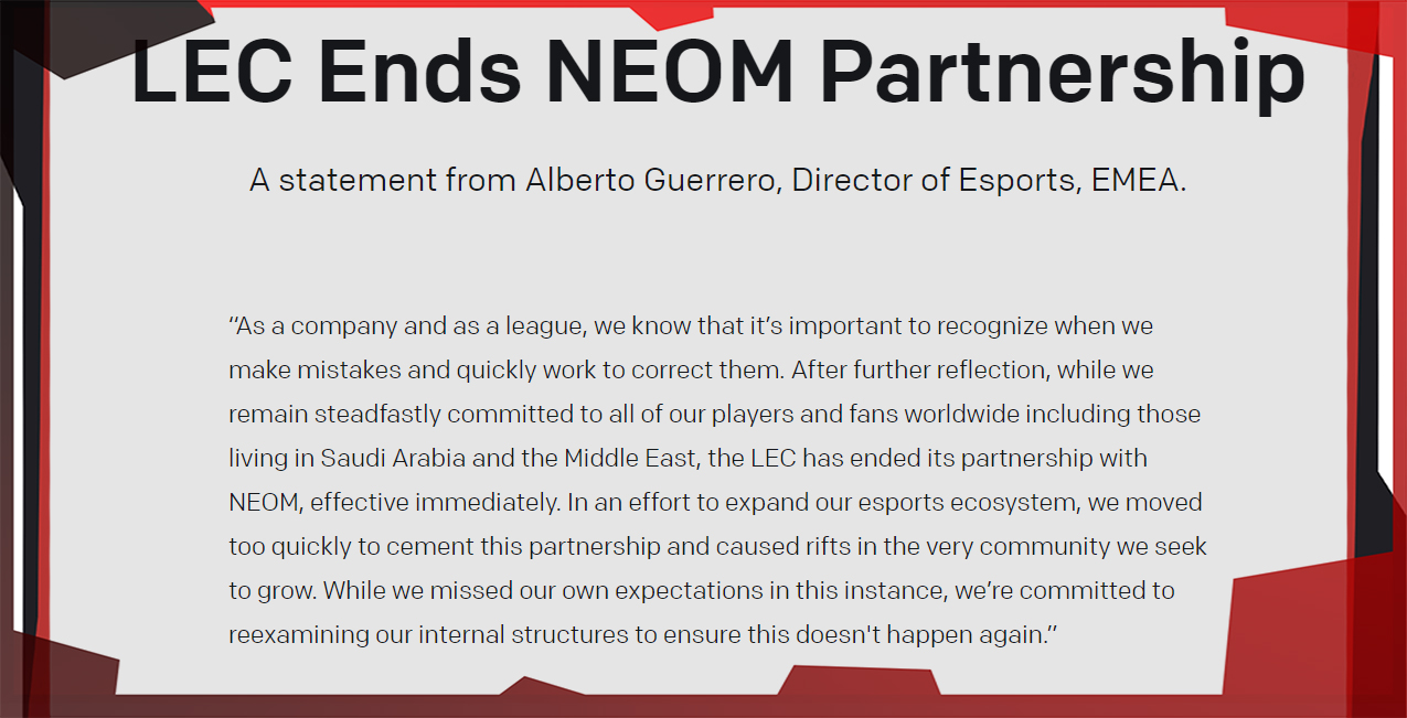 Riot Games прекратила сотрудничество с NEOM