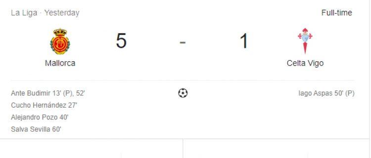 «Сельта» потерпела поражение в матче с «Мальоркой»