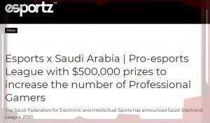 В Саудовской Аравии проведут киберспортивный турнир